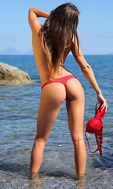 Juliette In Hot Red Bikini